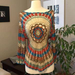 Sweaters - NEW Festival Bullseye Crochet Sweater Top Small